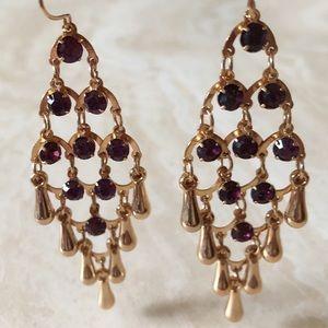 Gold & Purple Statement Earrings